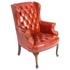 Early 20th Century Leather Chippendale Wing Back Chair Armchair