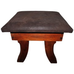 Early 20th Century Leather Covered Stool