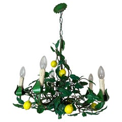 Early 20th Century Lemon Toleware Chandelier, Italy