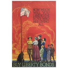 Early 20th Century, 'Liberty Bonds' World War I, Original Vintage Poster, USA