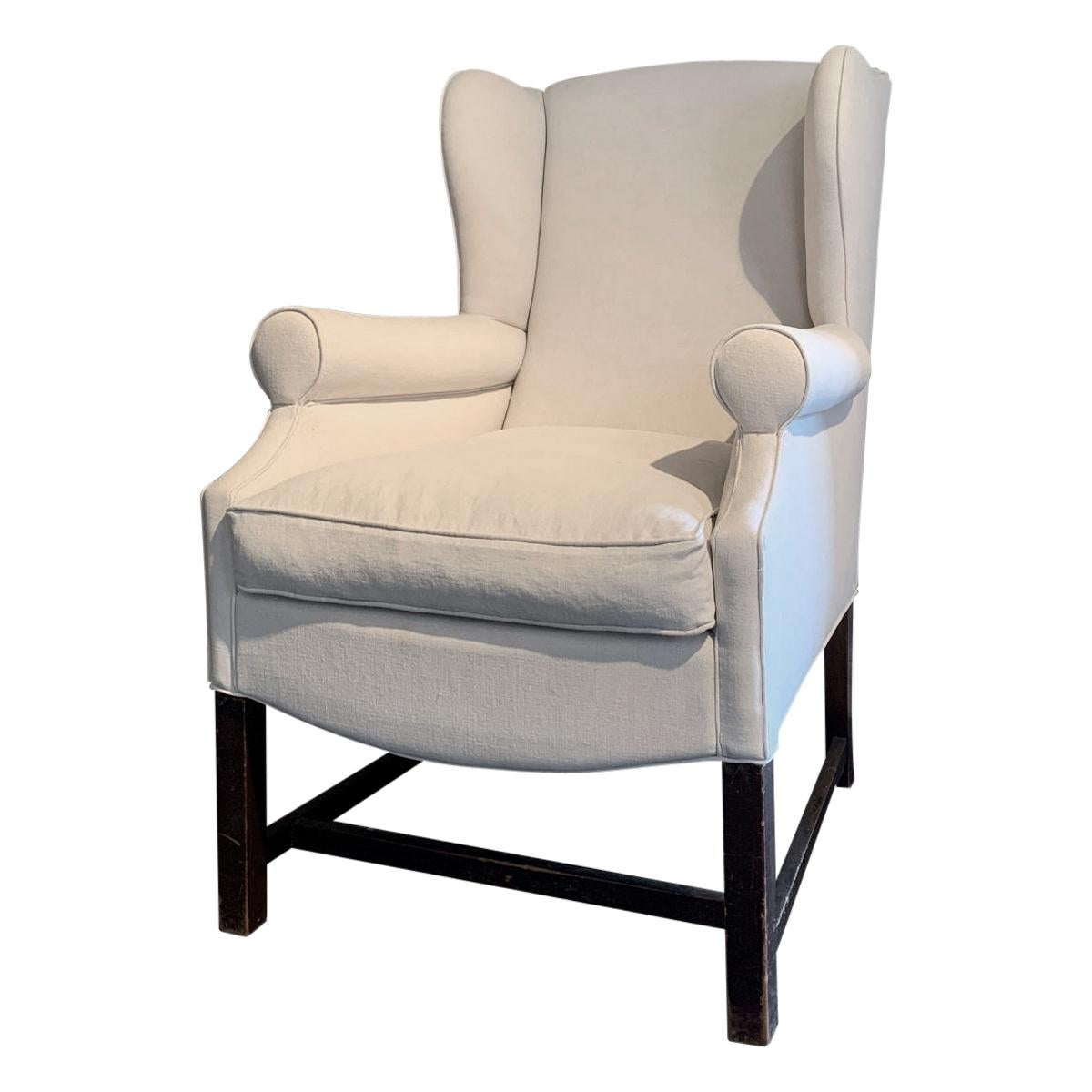 Early 20th Century Linen Wingchair