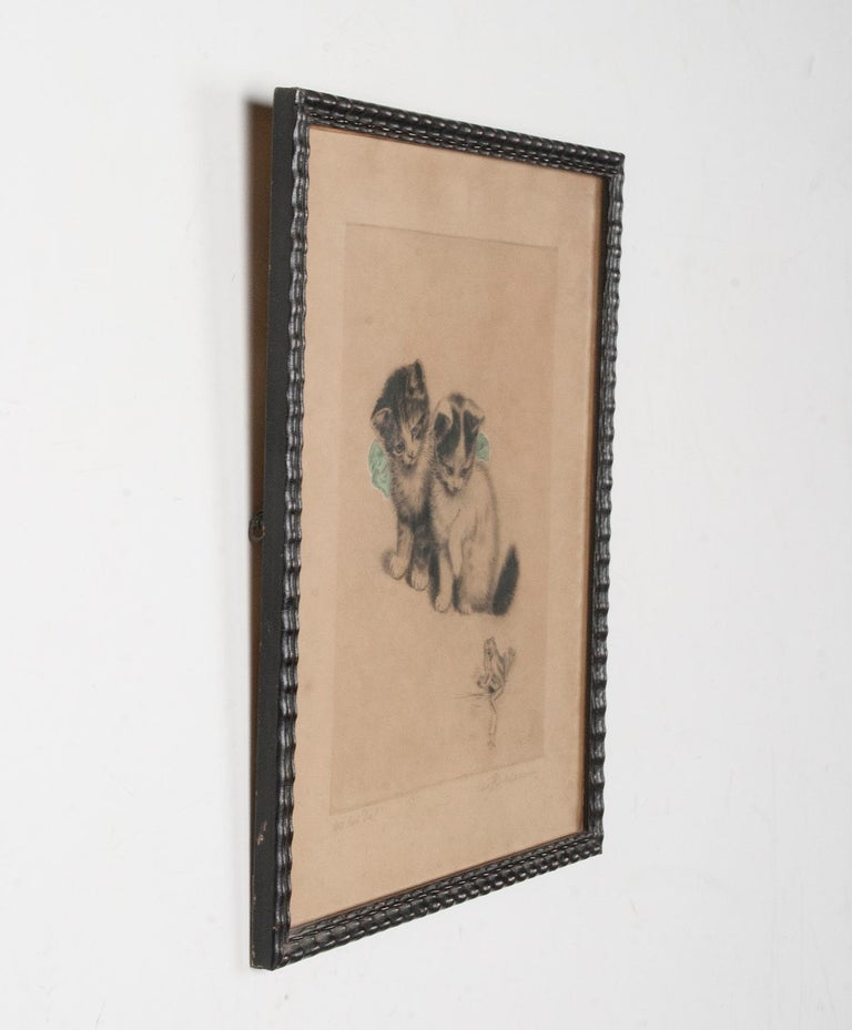 Early 20th Century Lithograph Young Cats by Meta PLÜCKEBAUM For Sale 4