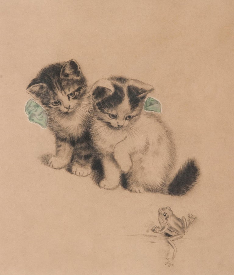 Belle Époque Early 20th Century Lithograph Young Cats by Meta PLÜCKEBAUM For Sale