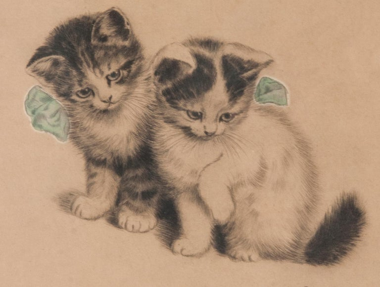 Early 20th Century Lithograph Young Cats by Meta PLÜCKEBAUM In Good Condition For Sale In Casteren, Noord-Brabant