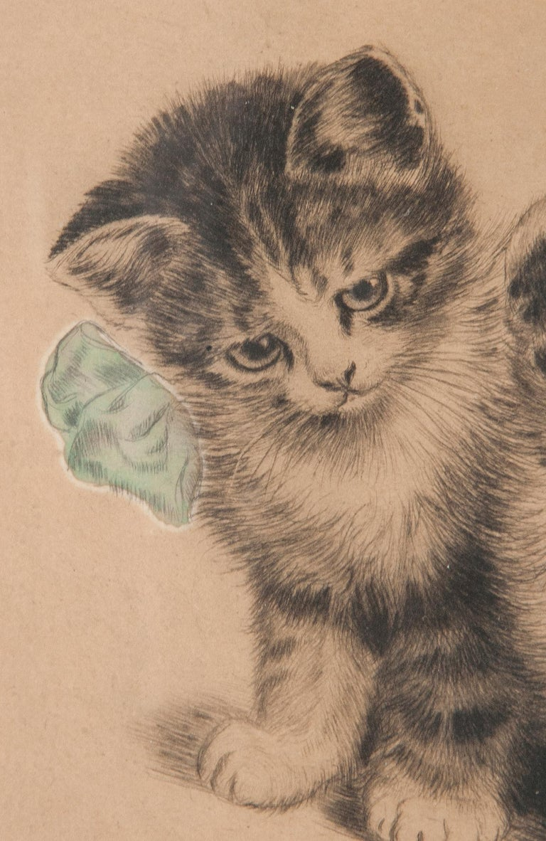 Paper Early 20th Century Lithograph Young Cats by Meta PLÜCKEBAUM For Sale