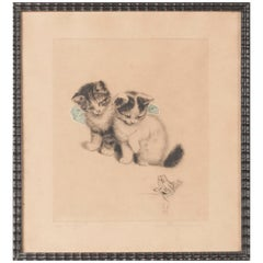 Early 20th Century Lithograph Young Cats by Meta PLÜCKEBAUM