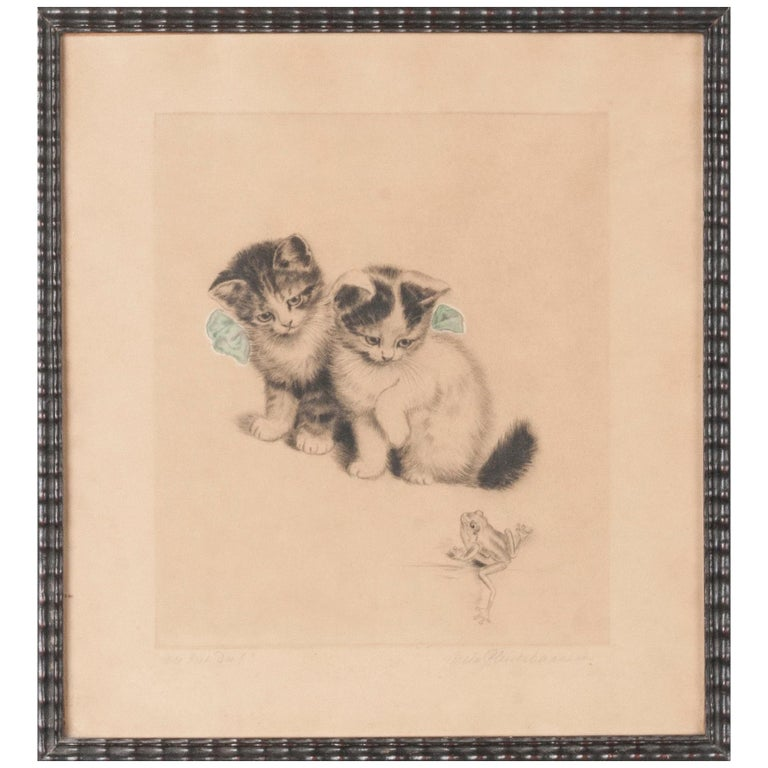 Early 20th Century Lithograph Young Cats by Meta PLÜCKEBAUM For Sale