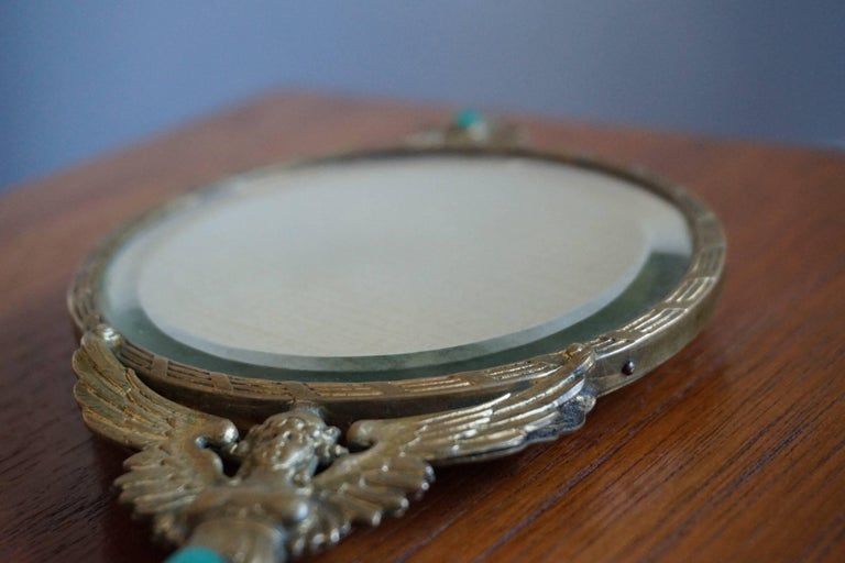 Wood Early 20th Century Little Empire Style Vanity Hand Mirror Inlaid For Sale