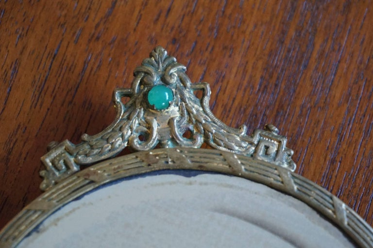 Early 20th Century Little Empire Style Vanity Hand Mirror Inlaid For Sale 1