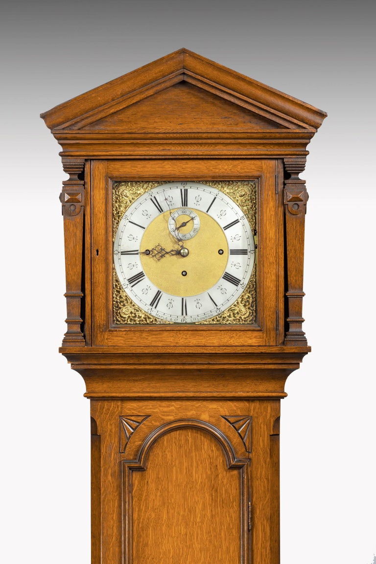Early 20th century longcase maples and company clock from Grimshaw Baxter & Elliott catalogue 1922. This clock would have cost £127 when new. Grimshaw Baxter & Elliott made clocks for Maples (Croydon factory) With 8 bells Whittington chime but 4