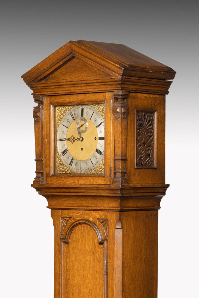 Oak Early 20th Century Longcase Clock by Maples For Sale
