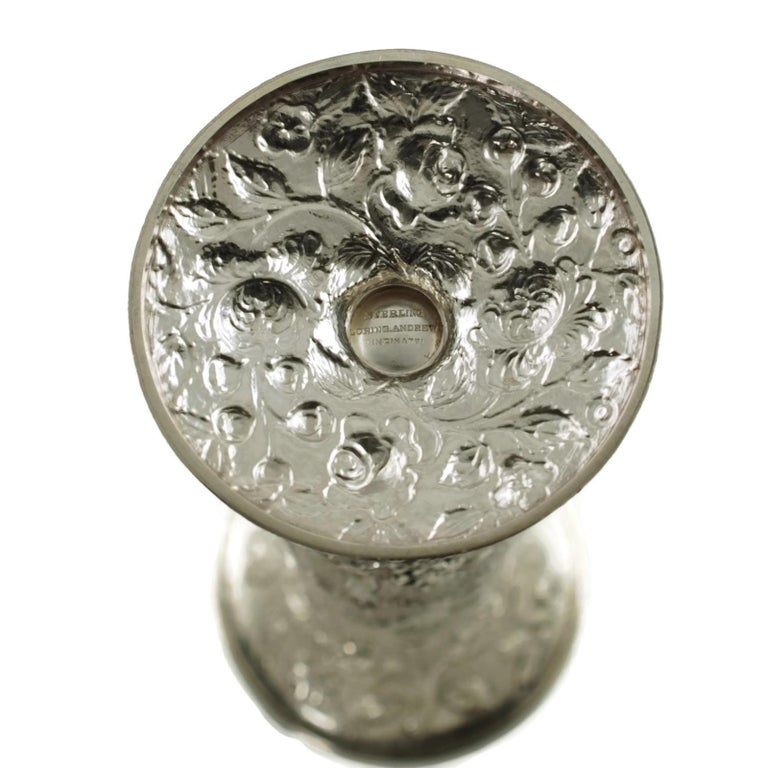 Early 20th Century Loring Andrews Sterling Silver Repousse Castle Pattern Vase For Sale 5