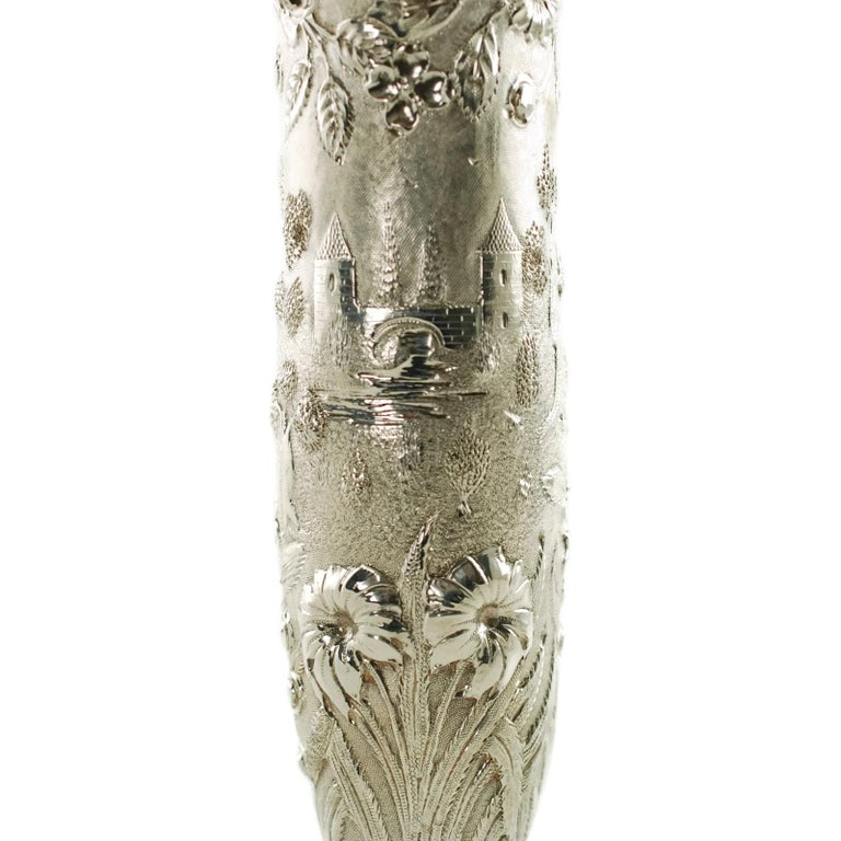 Early 20th Century Loring Andrews Sterling Silver Repousse Castle Pattern Vase For Sale 1