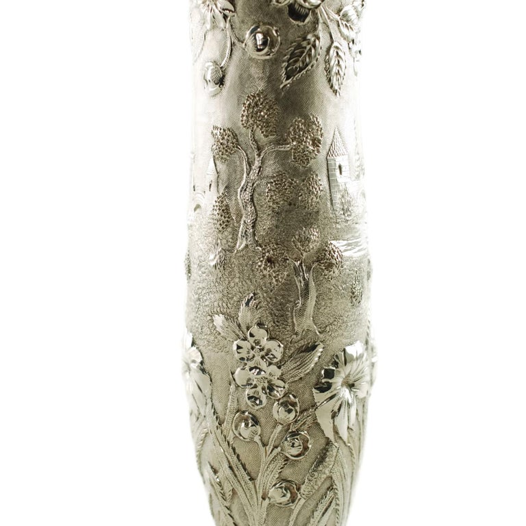 Early 20th Century Loring Andrews Sterling Silver Repousse Castle Pattern Vase For Sale 2