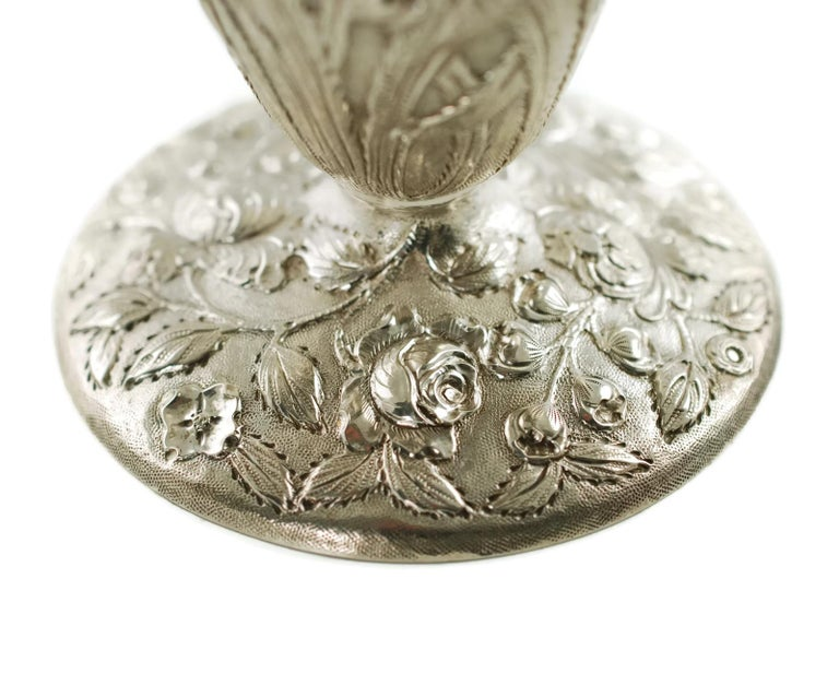Early 20th Century Loring Andrews Sterling Silver Repousse Castle Pattern Vase For Sale 3