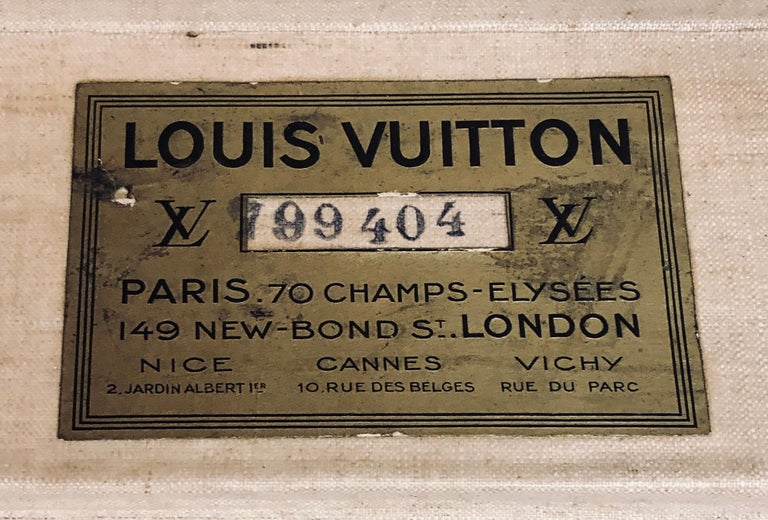 French Early 20th Century Louis Vuitton Paris Monogram Canvas Trunk, Travel Suitcase For Sale