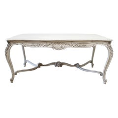 Early 20th Century Louis XV Carved and Painted Dining or Library Table