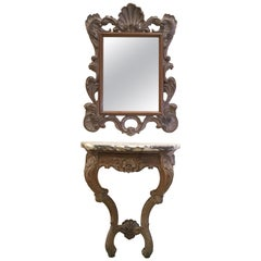 Early 20th Century Louis XV Carved Patinated Wall Hanging Console and Mirror