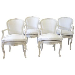 Early 20th Century Louis XV Style Carved and Painted Open Armchairs