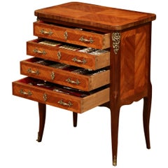 Early 20th Century Louis XV Walnut Marquetry Chest with Silverware, 145 Pieces