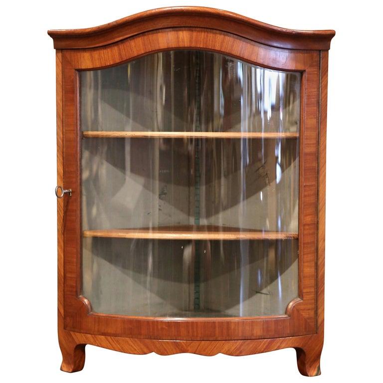 Early 20th Century Louis Xv Walnut Veneer Hanging Corner Cabinet