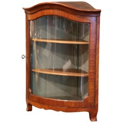 Early 20th Century Louis XV Walnut Veneer Hanging Corner Cabinet with Glass Door