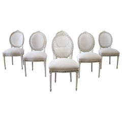 Early 20th Century Louis XVI Style Upholstered and Cane Back Dining Chairs