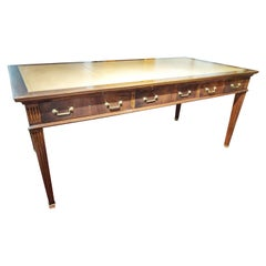 Early 20th Century Louis XVI Walnut Leather Bureau Plat Writing Desk Restored