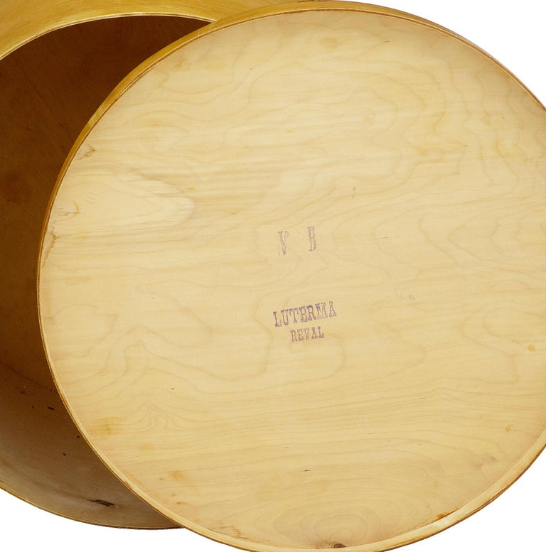 Art Deco Early 20th Century Luterma Reval Birch Bent Wood Hat Box For Sale