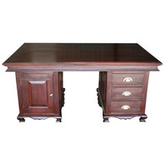 Early 20th Century Magnificent Custom Handcrafted Nedun Wood Desk