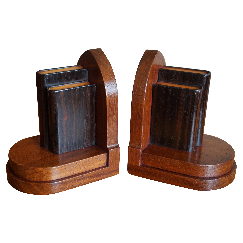 Early 20th Century Mahogany and Coromandel Art Deco Bookends w. Miniature Books