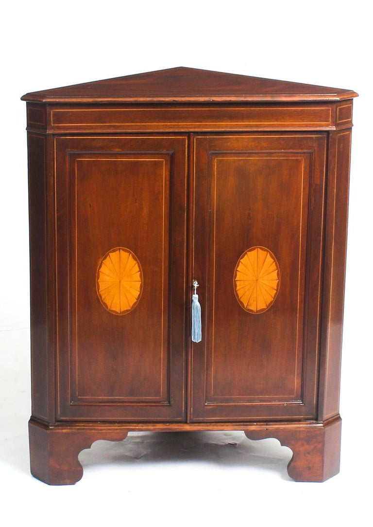 20 Corner Cabinets To Make A Clutter Free Bathroom Space: Early 20th Century Mahogany And Satinwood Inlaid Low