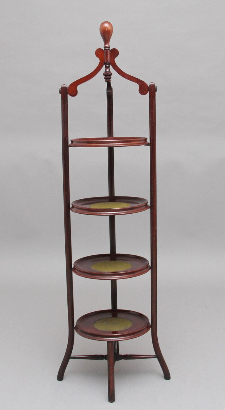 British Early 20th Century Mahogany Cake Stand For Sale