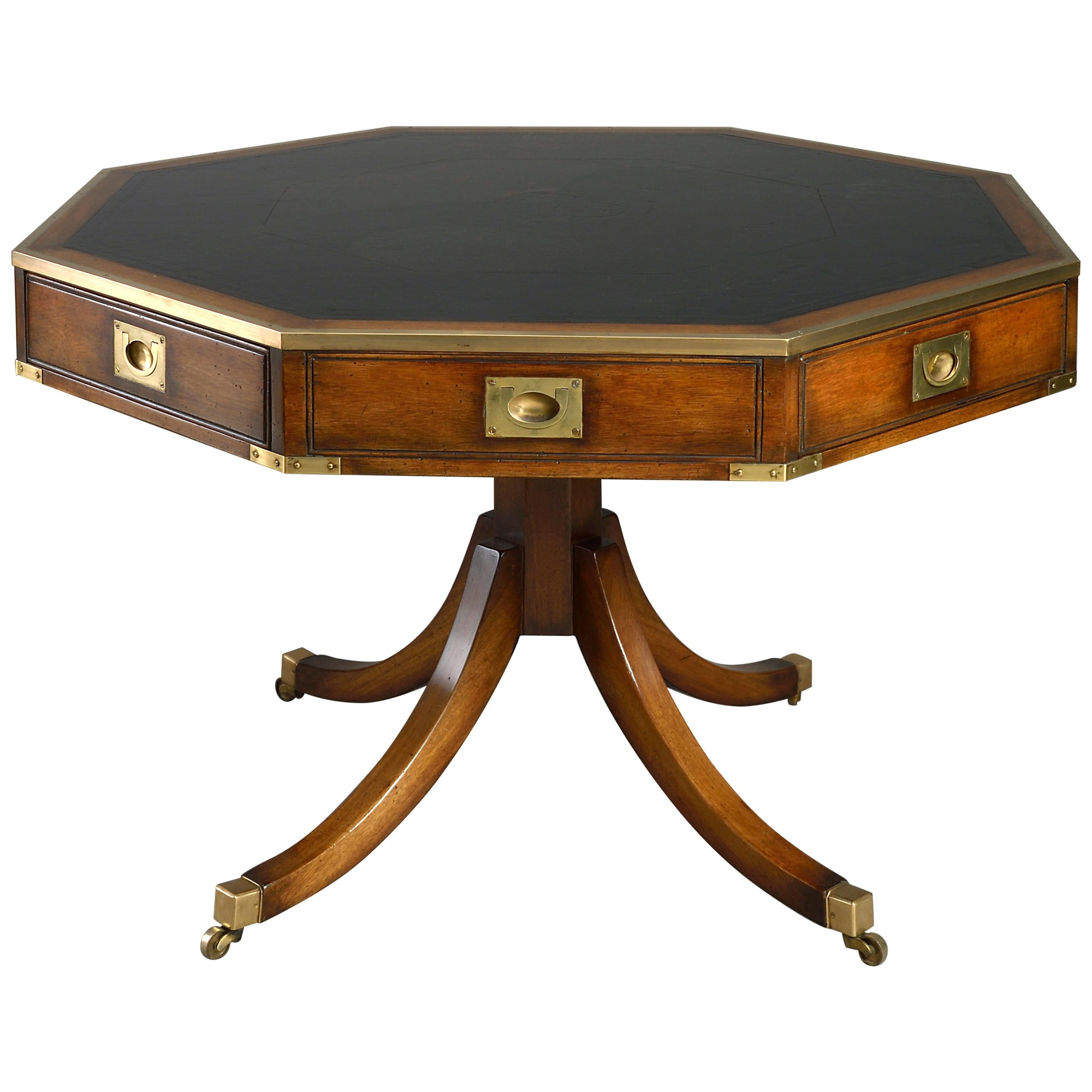 Early 20th Century Mahogany Campaign Drum Table