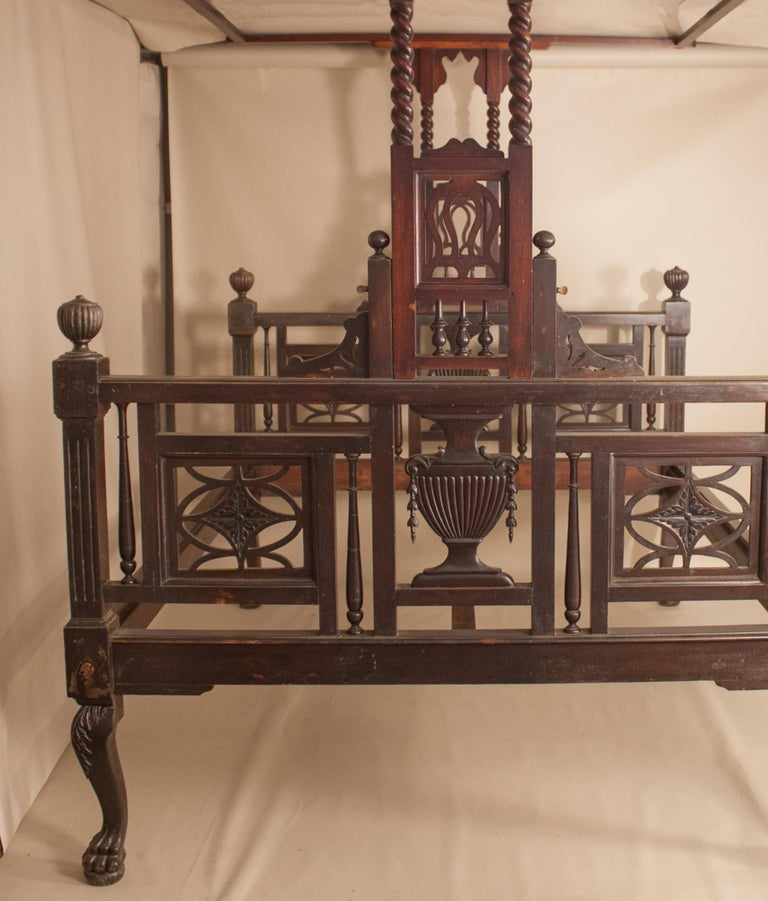 Indian Early 20th Century Mahogany Canopy or Tester Bed from British India For Sale