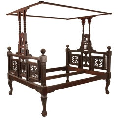 Early 20th Century Mahogany Canopy or Tester Bed from British India