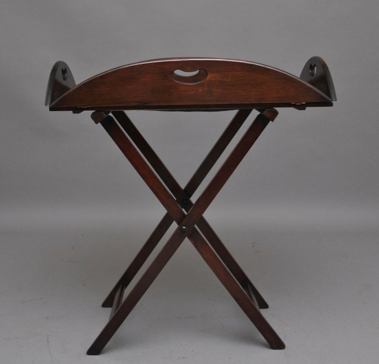 Edwardian Early 20th Century Mahogany Folding Butlers Tray on Stand For Sale