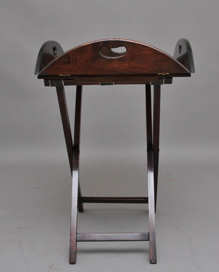 British Early 20th Century Mahogany Folding Butlers Tray on Stand For Sale