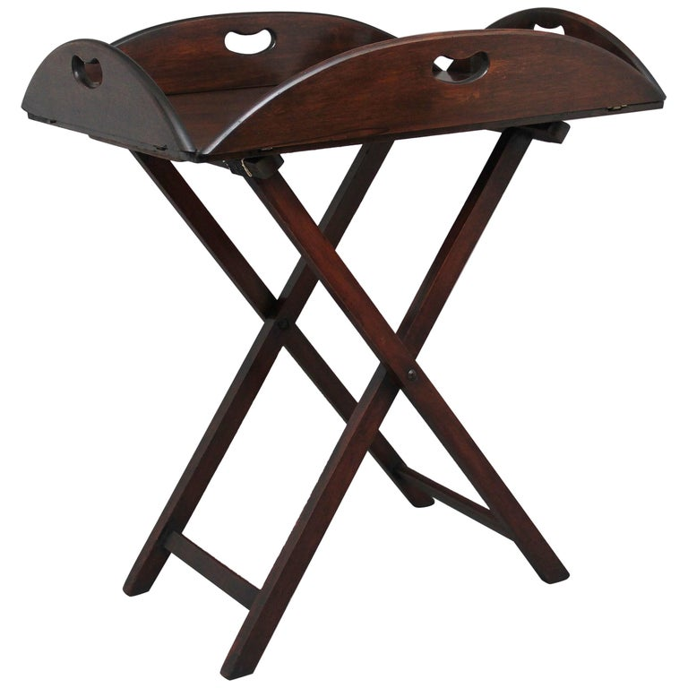 Early 20th Century Mahogany Folding Butlers Tray on Stand For Sale