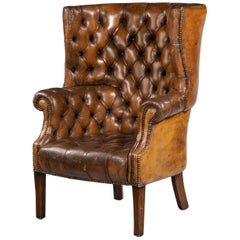 Early 20th Century Mahogany Framed Leather Wing Chair