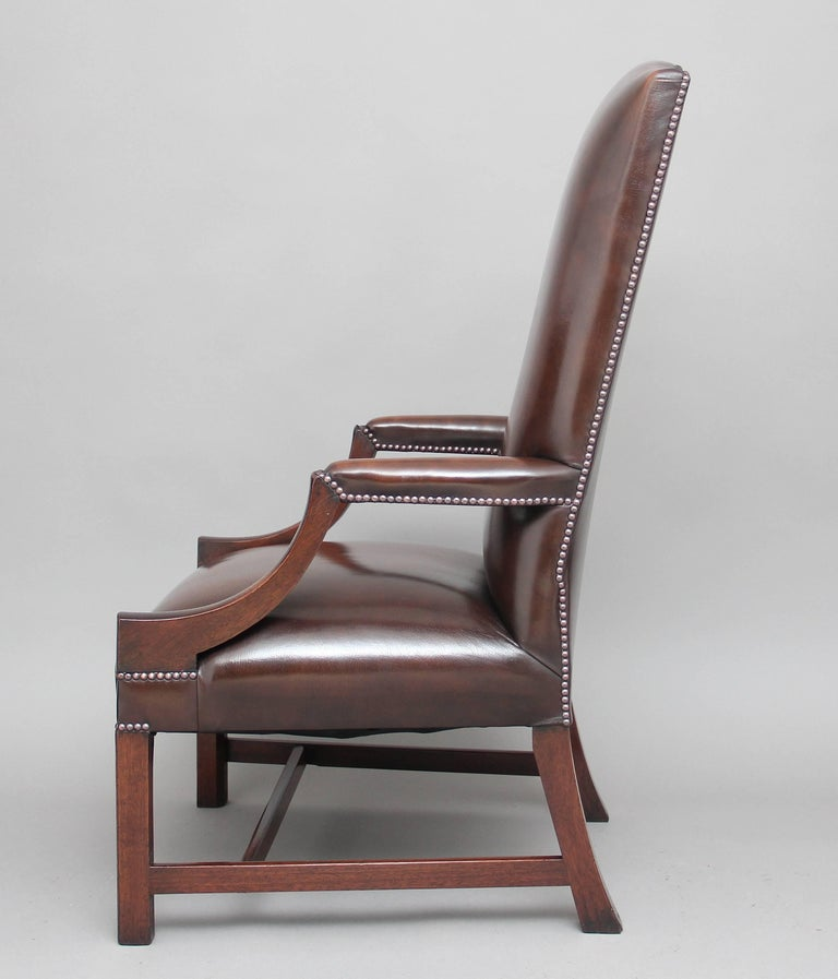 Early 20th Century Mahogany Library Chair In Good Condition For Sale In Martlesham, GB