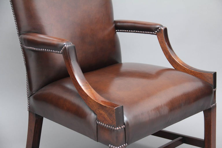 Early 20th Century Mahogany Library Chair For Sale 1