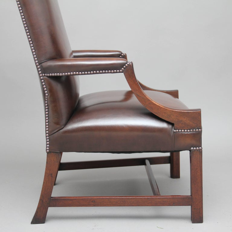 Early 20th Century Mahogany Library Chair For Sale 3