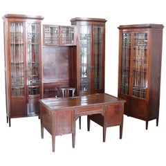 Early 20th Century Mahogany Office Furniture Set with 3 Bookcase 1 Desk 1 Chair