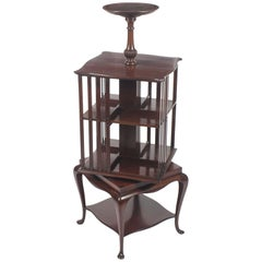 Early 20th Century Mahogany Revolving Bookcase Book Stand with Pedestal