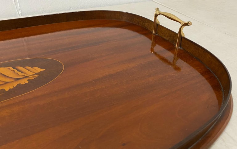 American Early 20th Century Mahogany Serving / Bar Tray with Shell Inlay For Sale
