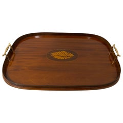 Early 20th Century Mahogany Serving / Bar Tray with Shell Inlay