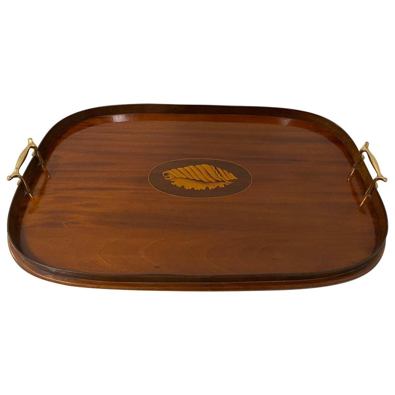 Early 20th Century Mahogany Serving / Bar Tray with Shell Inlay For Sale