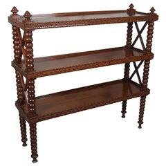 Early 20th Century, Mahogany Three-Tier Shelf Étagère, Bobbin Spindle Bookcase