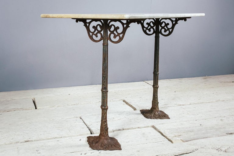 Early 20th Century Marble and Cast Iron Bistro Table In Fair Condition For Sale In Pease pottage, West Sussex